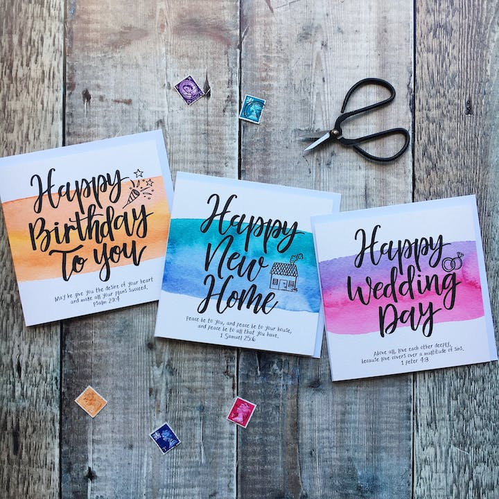 Watercoloured & Calligraphy Happy Cards - Izzy and Pop