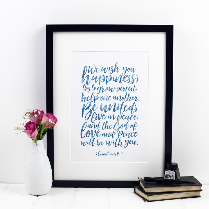 We Wish You Happiness Wedding Print - 2 Corinthians 13:11 - Izzy and Pop