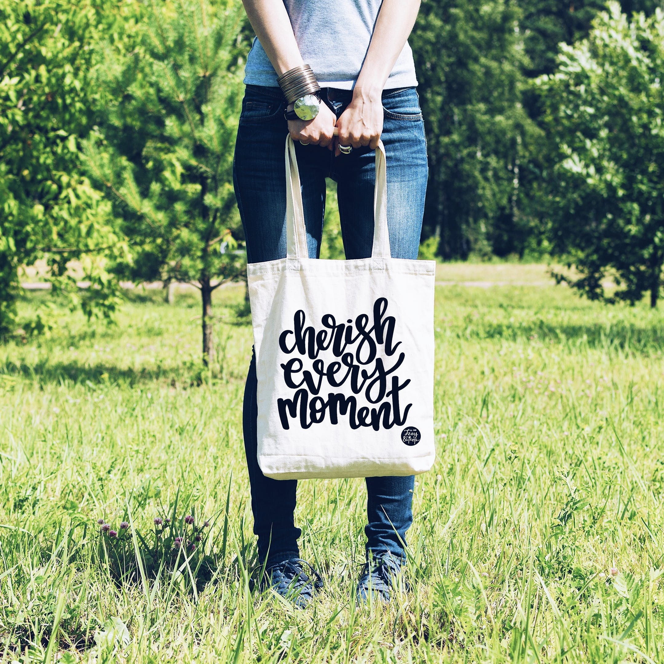 White Cherish Every Moment Tote Bag - Izzy and Pop