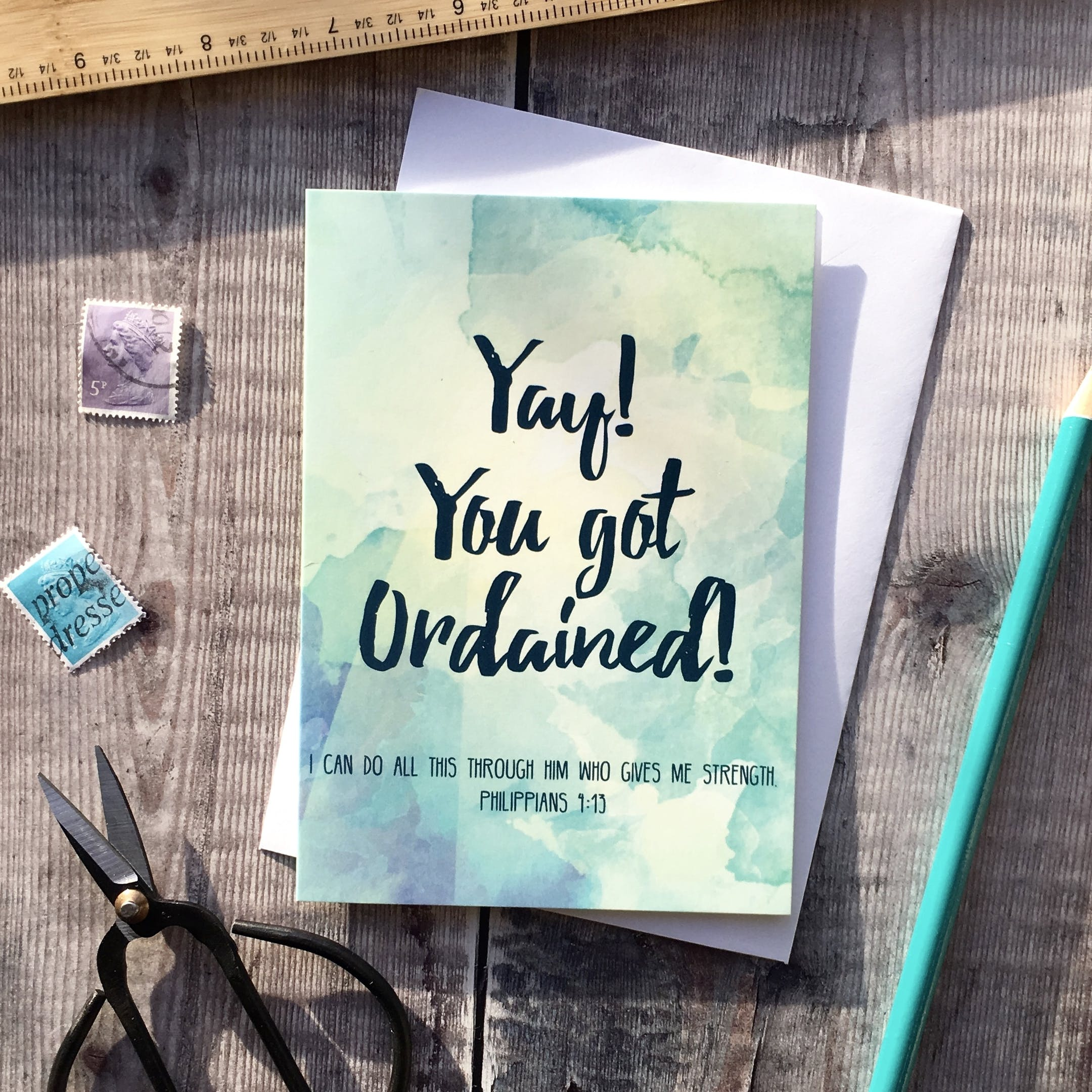 Yay You Got Ordained Philippians 4:13 Card - Izzy and Pop