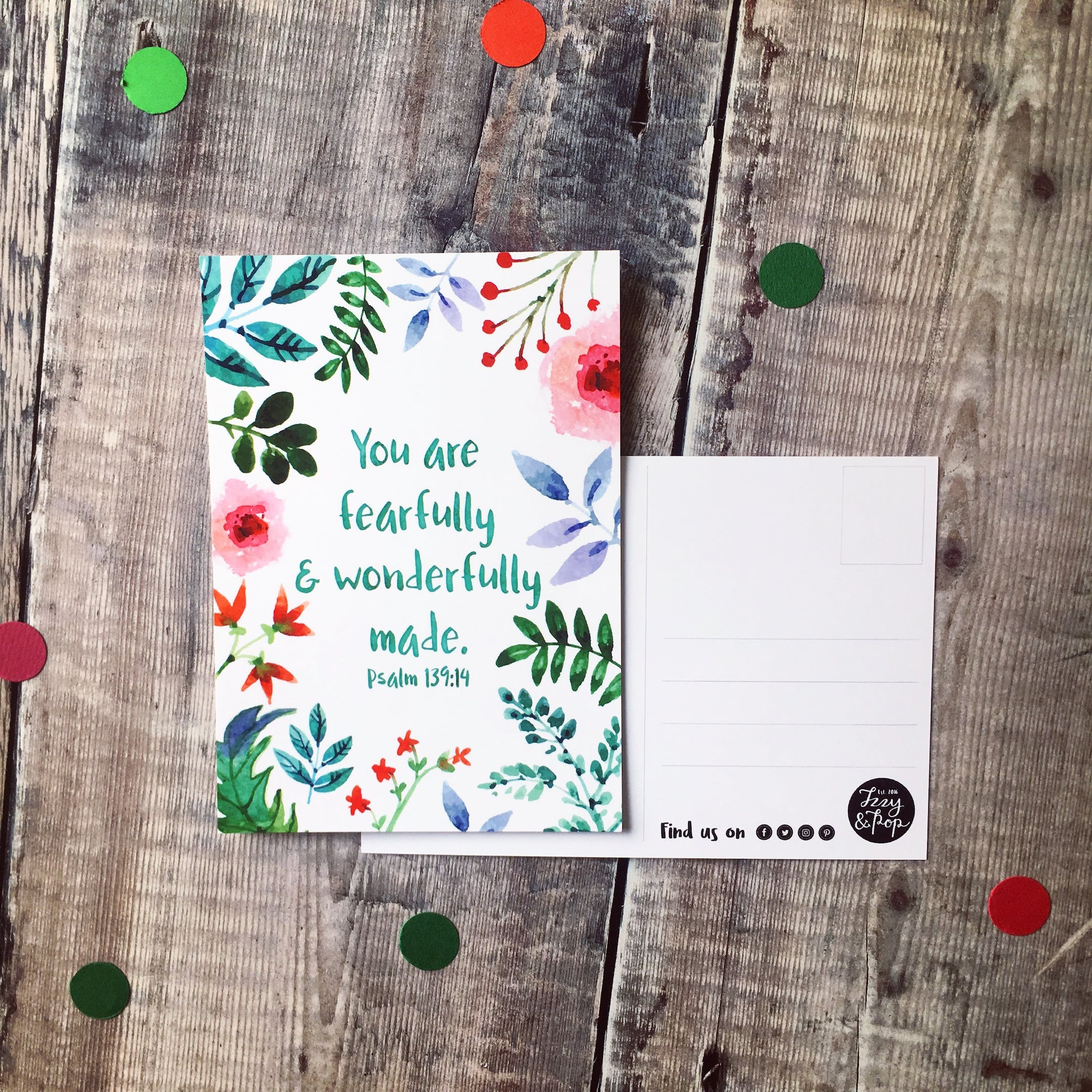 You Are Fearfully And Wonderfully Made Encouragement Postcard - Izzy and Pop