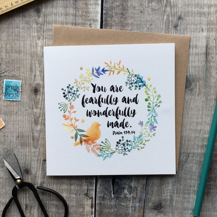 You Are Fearfully & Wonderfully Made Square Card - Psalm 139:14 - Izzy and Pop