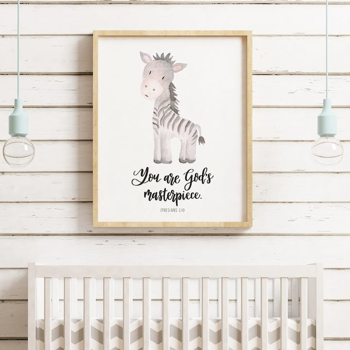 You Are God's Masterpiece Nursery Print - Ephesians 2:10 - Izzy and Pop