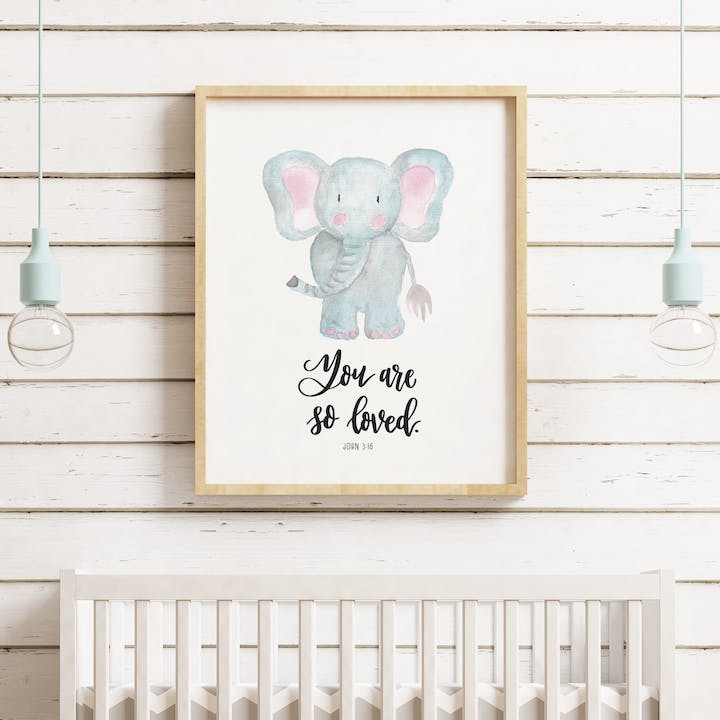 You Are So Loved Nursery Print - John 3:16 - Izzy and Pop