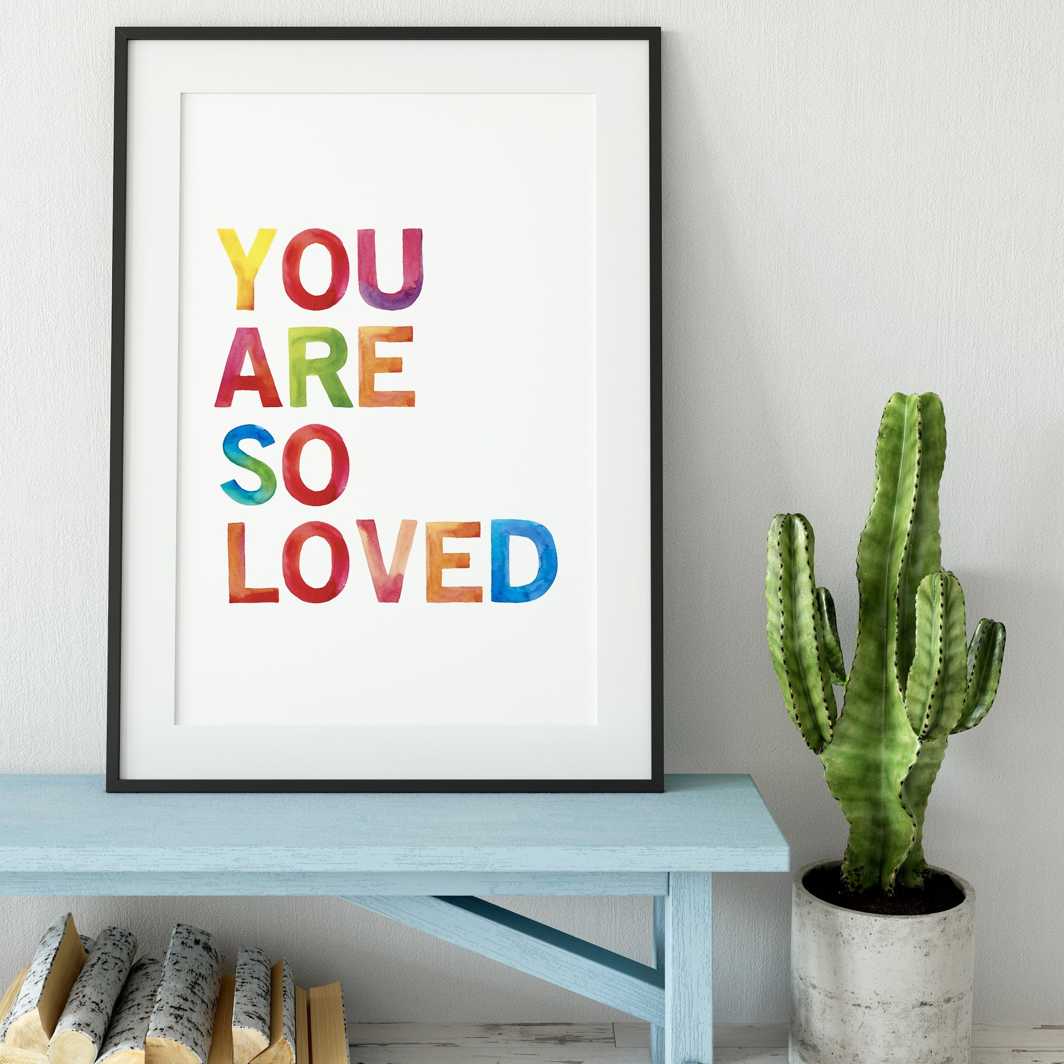 You Are So Loved Rainbow Typography Print - Izzy and Pop