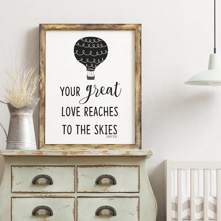Your Great Love Reaches To The Skies Print - Psalm 57:10 - Izzy and Pop