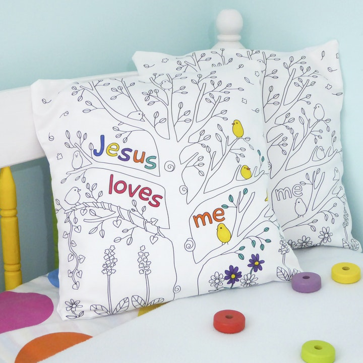 Colouring Cushion | Indoor Activities for Children UK | Cheerfully Given - Christian Gifts UK