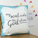 Turquoise blue border and tiny spots with the words 'My Soul Rests in God Alone' handlettered in black by Judy B Design