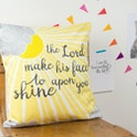 The Lord Make His Face Shine Sunshine Yellow Cushion by Judy B Design | Cheerfully Given