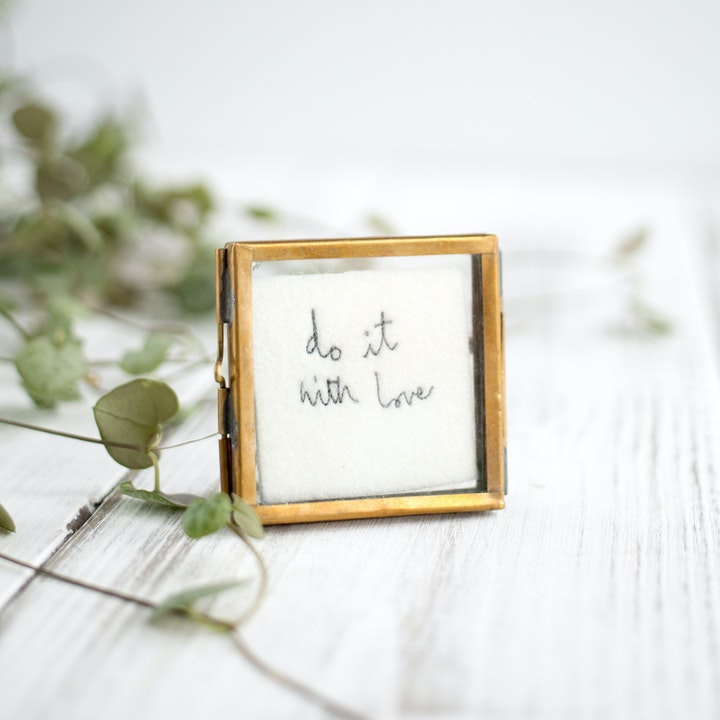 'Do It With Love' Mini Framed Embroidery - Jane Kent Studio