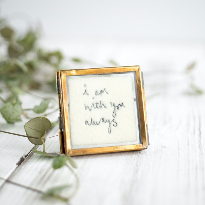 'I Am With You Always' Mini Framed Embroidery - Matthew 28:20 - Jane Kent Studio