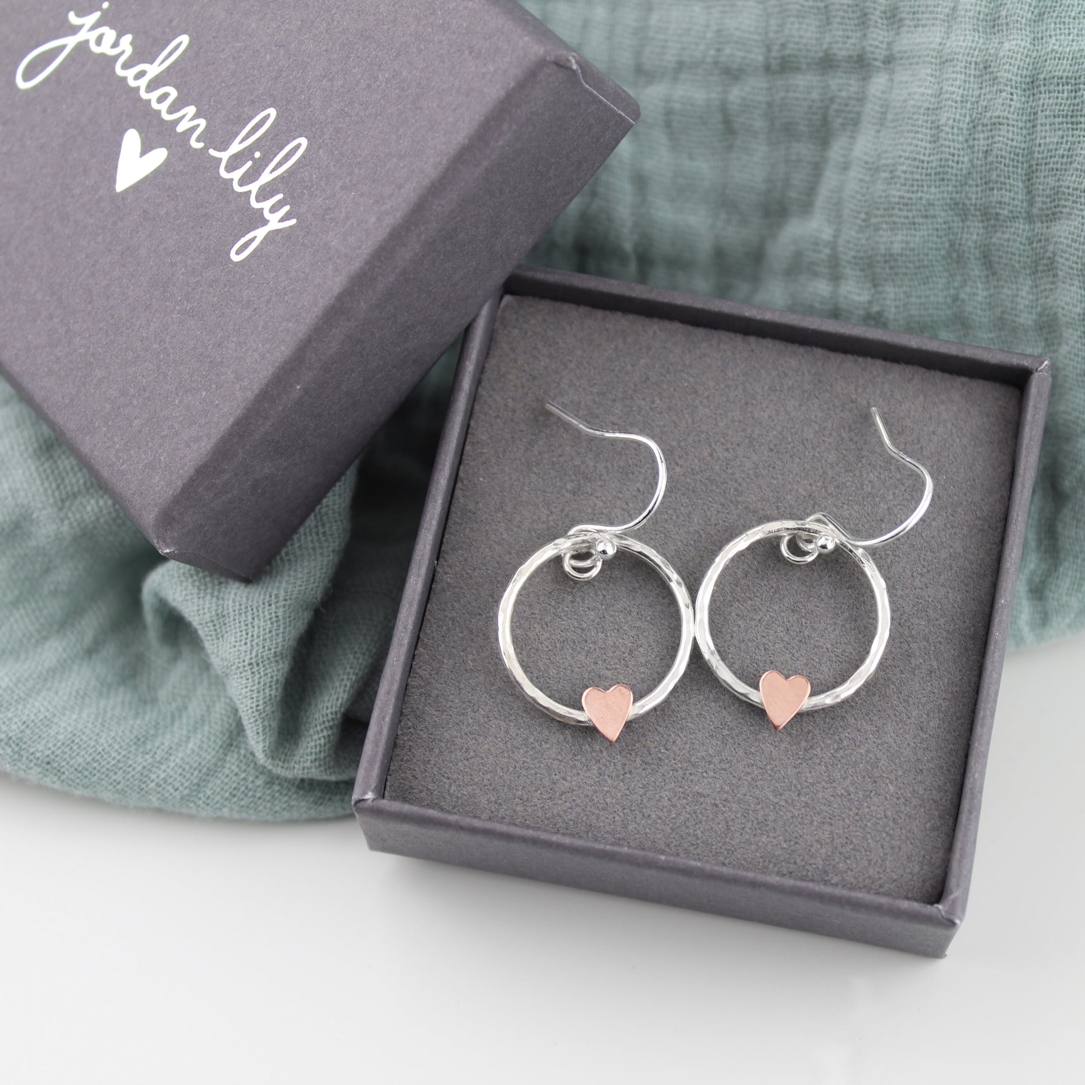 Copper Heart Christian Earrings | Handmade Silver Jewellery UK | Jordan Lily Designs | Cheerfully Given - Christian Gifts UK