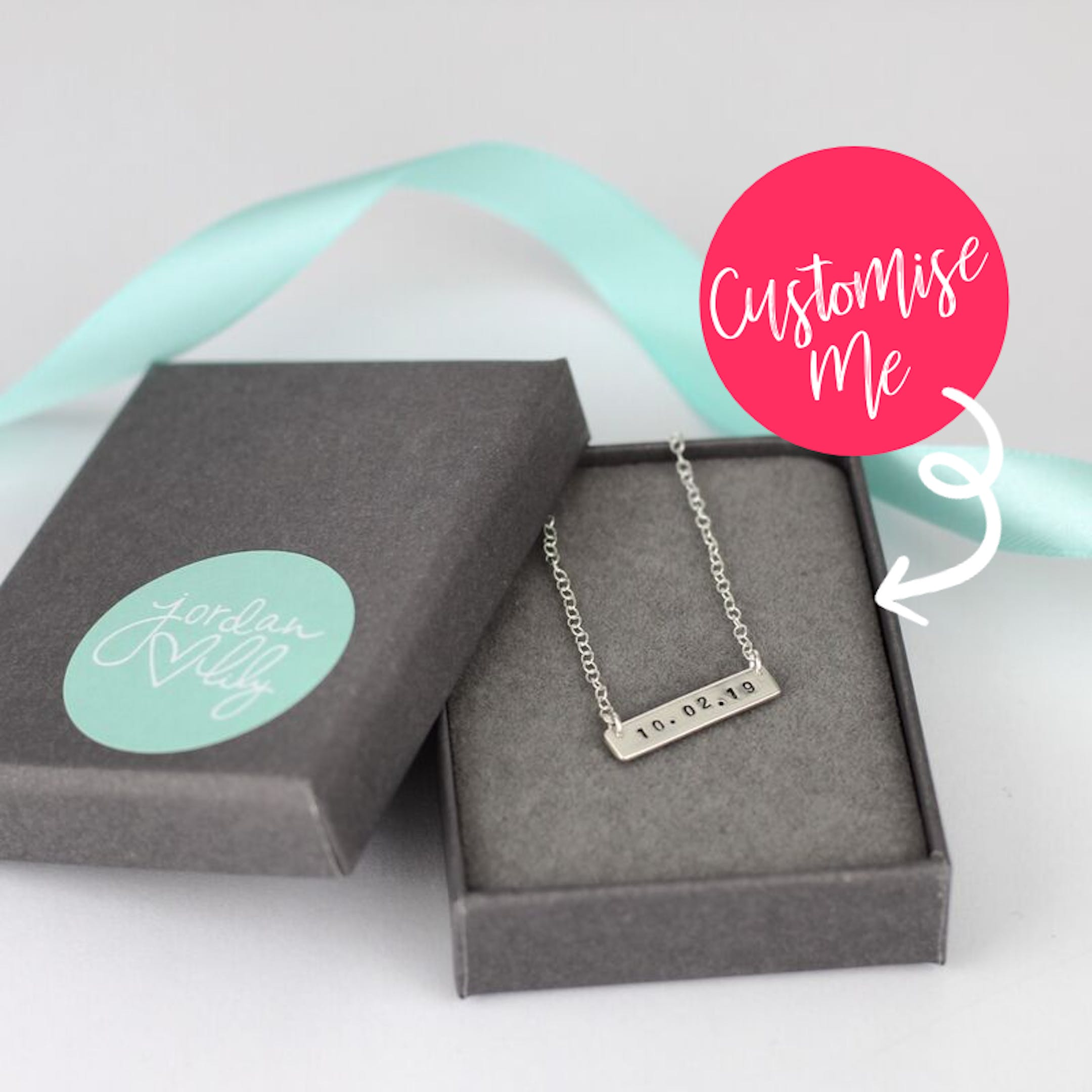 Mini Date Silver Bar Necklace | Personalised Jewellery | Christian Jewellery | Jordan Lily Designs | Cheerfully Given