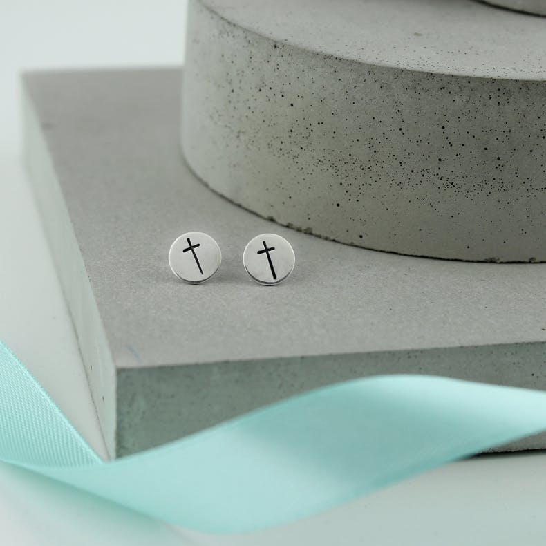 Stamped Cross Earrings | Jordan Lily Designs | Cheerfully Given
