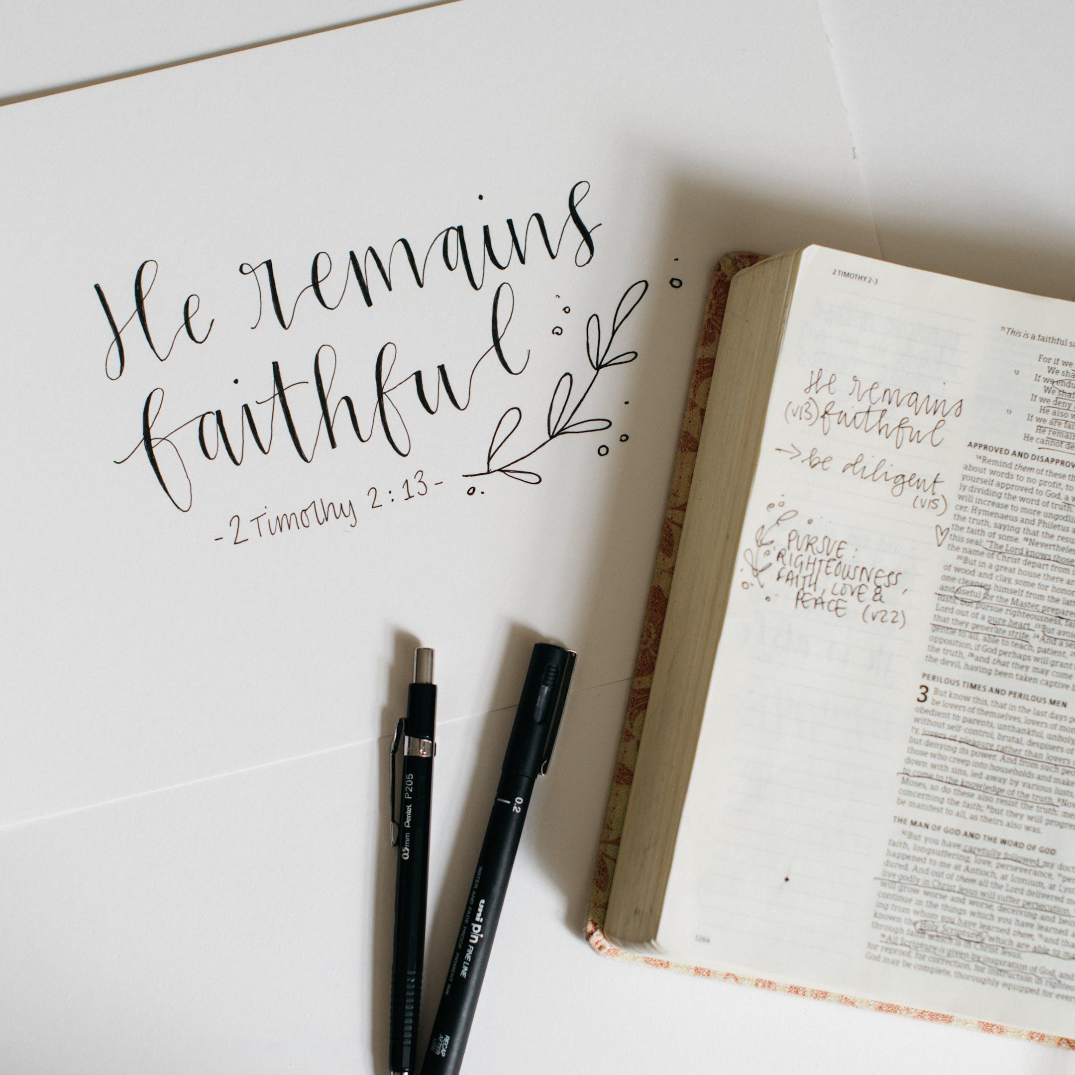2 Timothy 2:13 Calligraphy Print - Kate Hanks Art