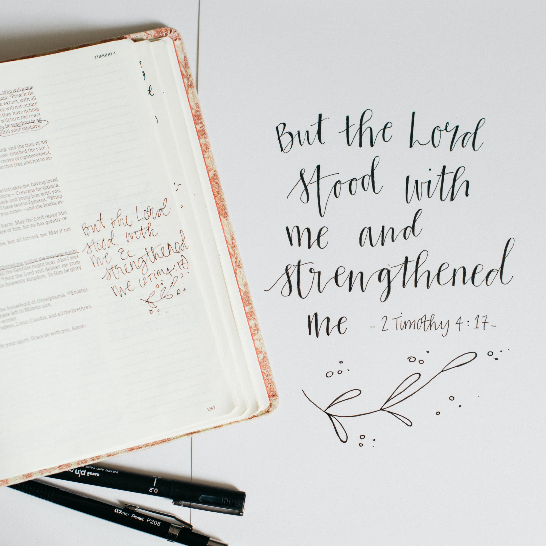 2 Timothy 4:17 Calligraphy Print - Kate Hanks Art