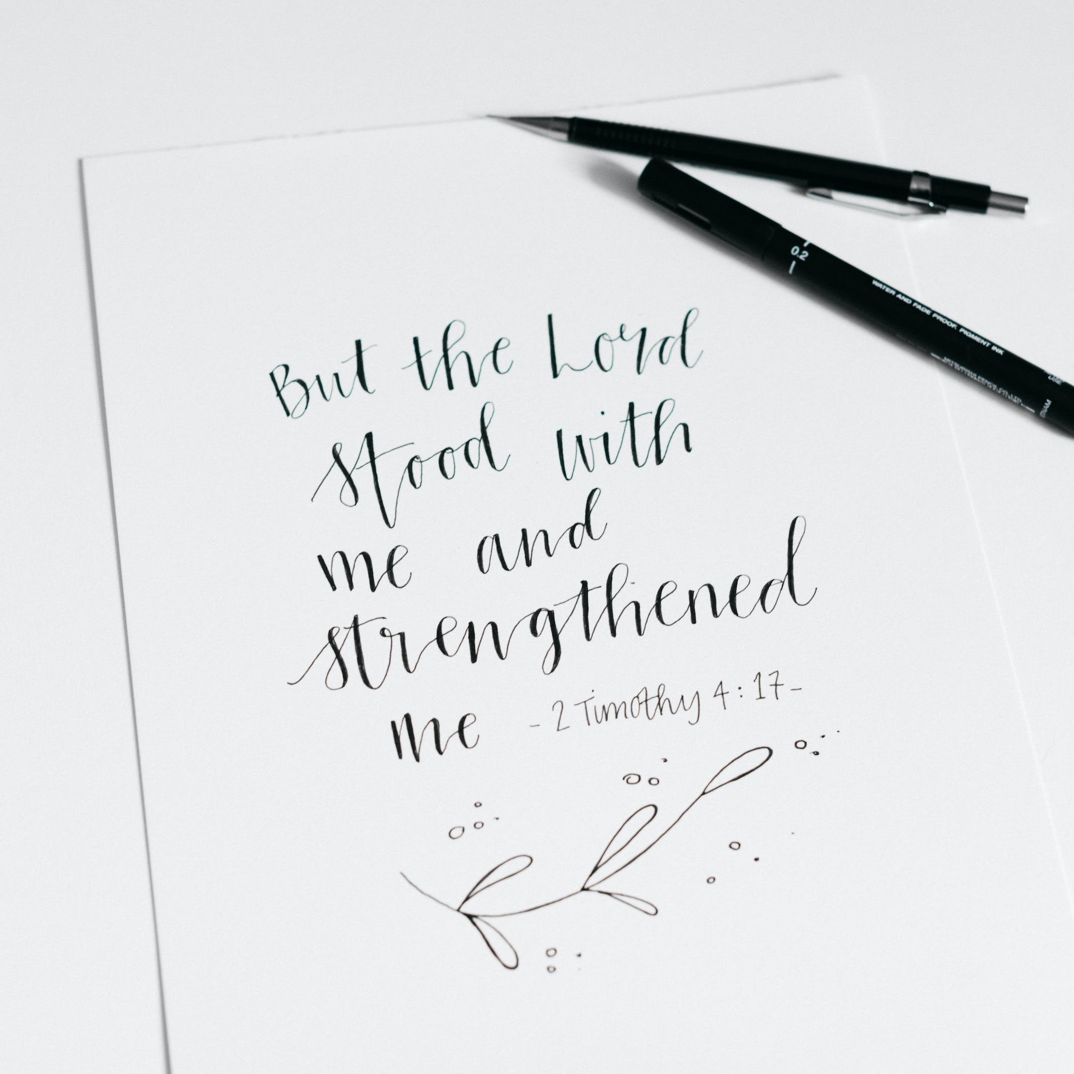 2 Timothy 4:17 Calligraphy Print - The Lord Stood With Me - Kate Hanks Art