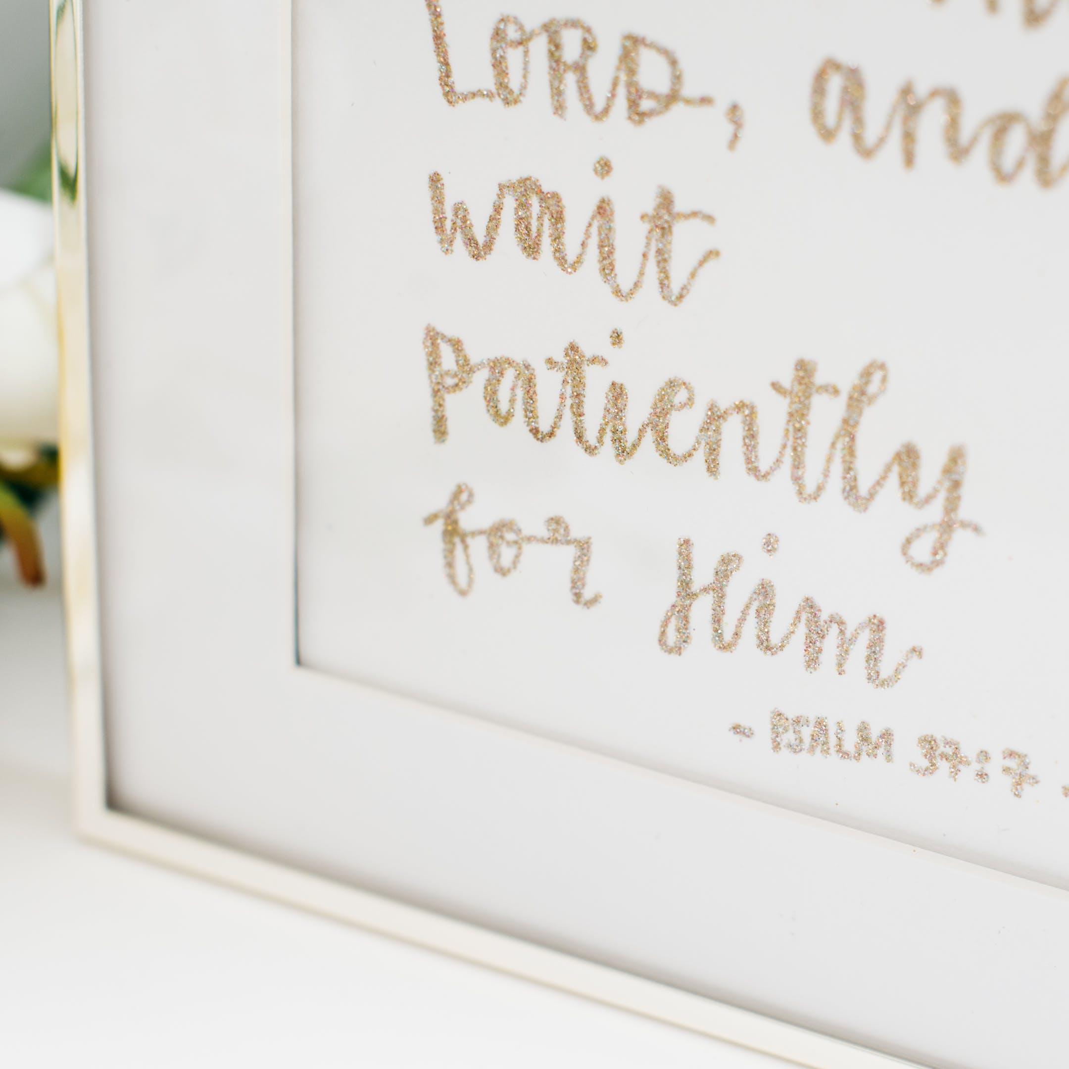 Framed Glitter Calligraphy - Rest in the Lord - Kate Hanks Art