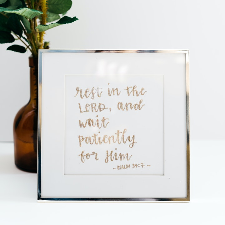 Rest In The Lord Framed Glitter Calligraphy - Psalm 37:7 - Kate Hanks Art
