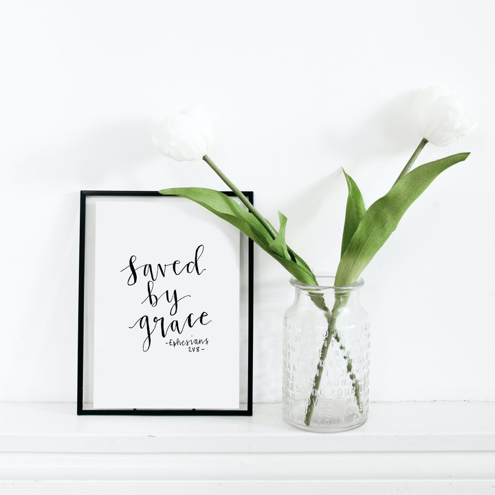 Saved By Grace Calligraphy Print - Ephesians 2:8 - Kate Hanks Art