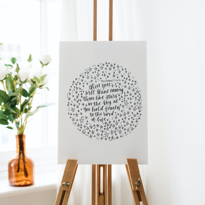 Shine Like Stars Calligraphy Print - Philippians 2:15-16 - Kate Hanks Art