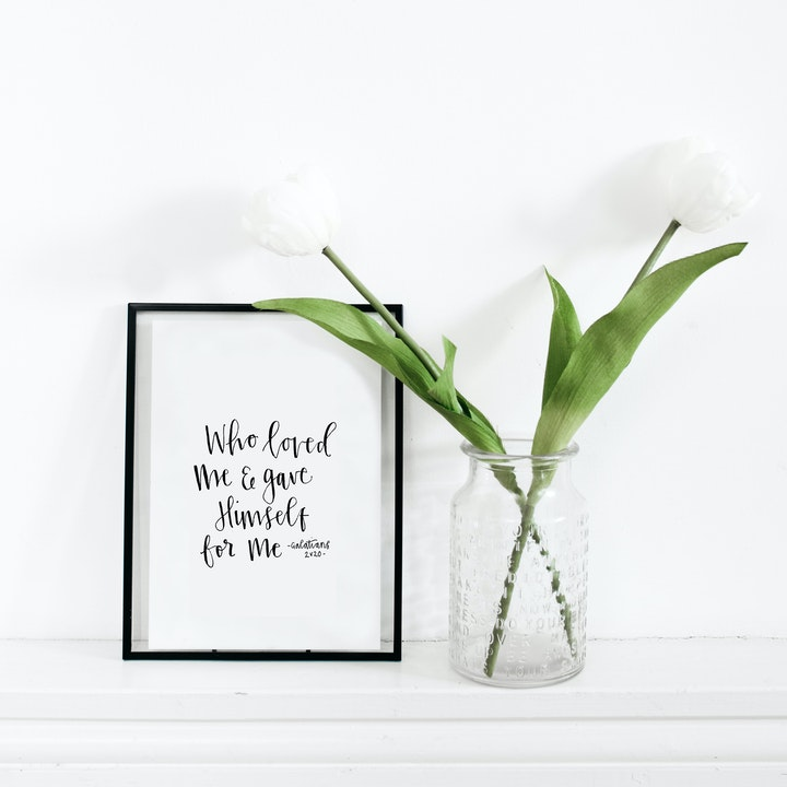 Who Loved Me Calligraphy Print - Galatians 2:20 - Kate Hanks Art