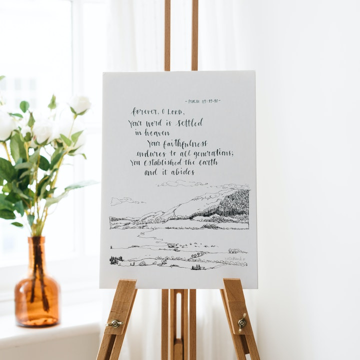 Your Word Is Settled In Heaven Calligraphy Print - Psalm 119:89-90 - Kate Hanks Art