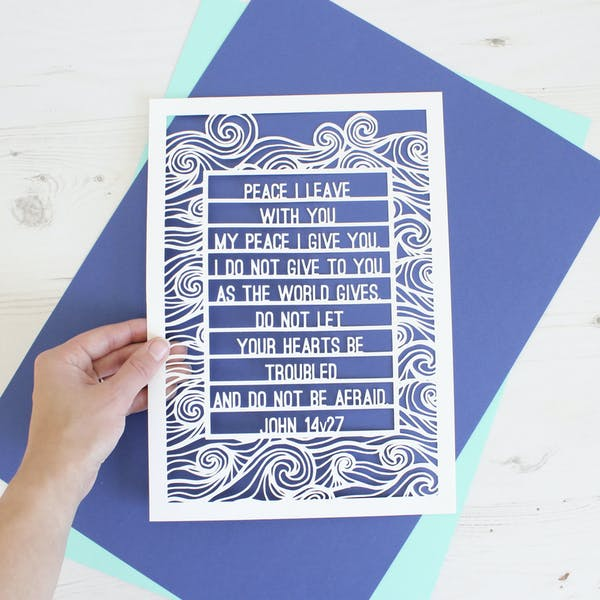 Peace I leave with you white papercut artwork | Kiwi Tree Designs | Cheerfully Given
