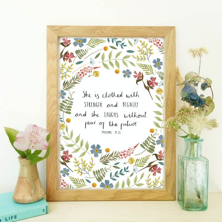 She Is Frame | Proverbs 31 Scripture Print | Leah and Libby | Cheerfully Given - Christian Gifts UK