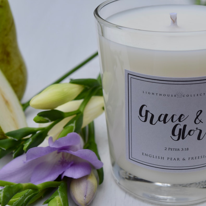Grace & Glory Freesia Candle   Soy Wax Candle by Whitehouse Collection   Cheerfully Given - Christian Gifts UK