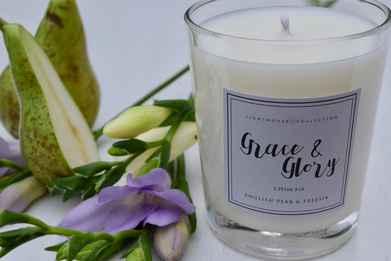Grace & Glory Freesia Candle | Soy Wax Candle by Whitehouse Collection | Cheerfully Given - Christian Gifts UK