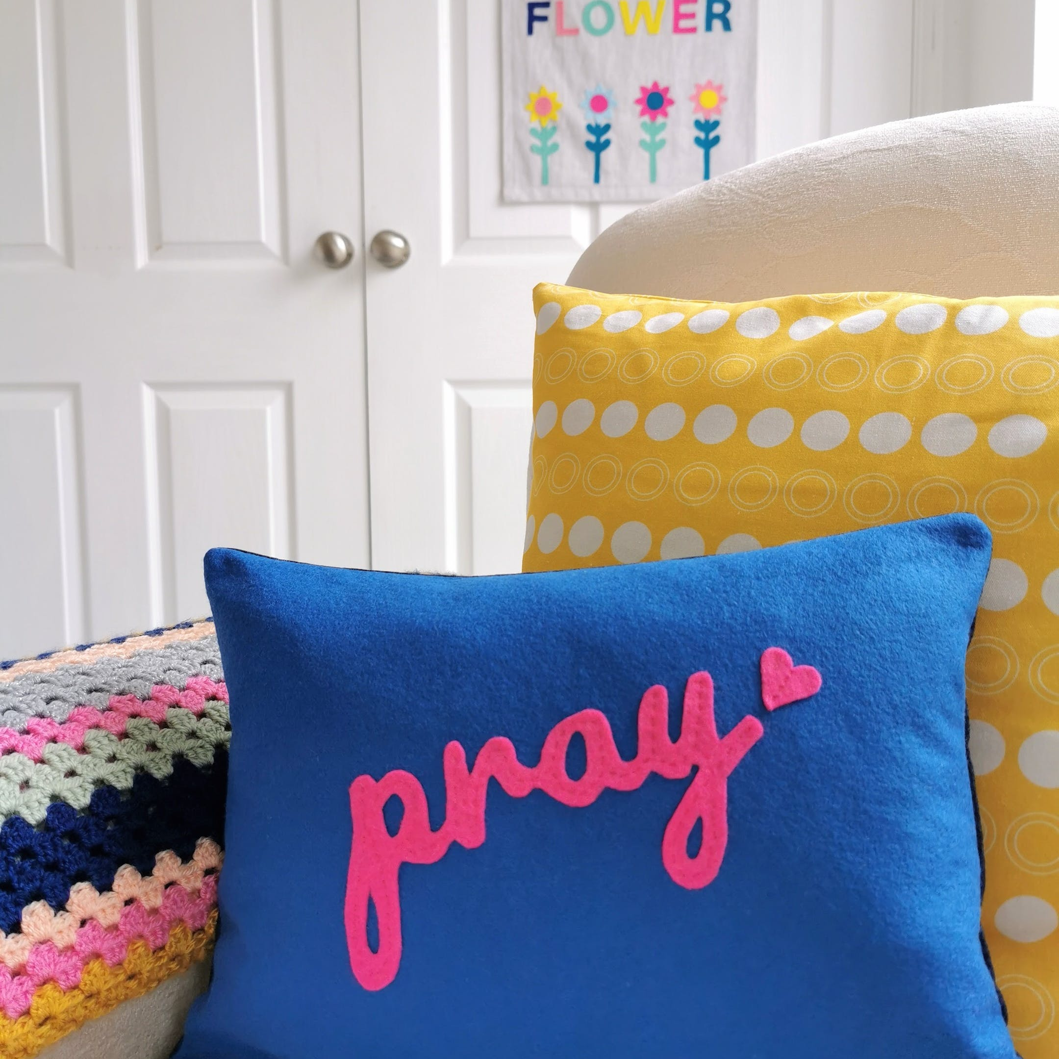 Pink Pray with Blue Cushion by Love and Joy Creative Studio | Cheerfully Given - Christian Encouragement Gifts