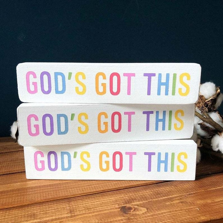 God's Got This Colourful Wooden Sign for Christian home decor & Christian Gifts UK | Made by Little Stag Signs | Cheerfully Given Christian Marketplace