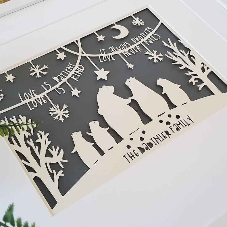 Personalised Papercut Art | The Bear Family | MLK + HNY | Cheerfully Given