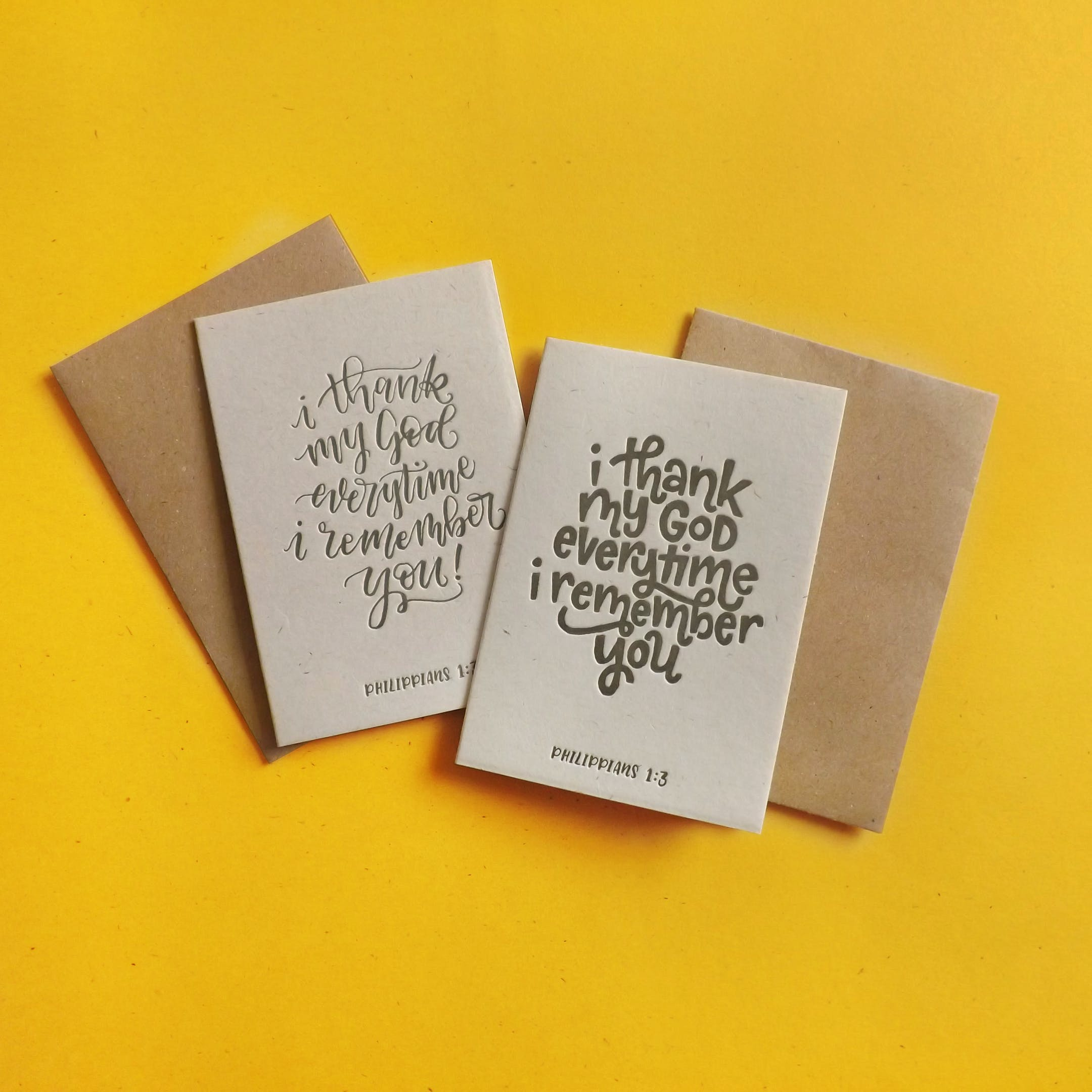 Letterpress Thank You Cards | Christian Cards UK | The Mustard Seed Press | Cheerfully Given
