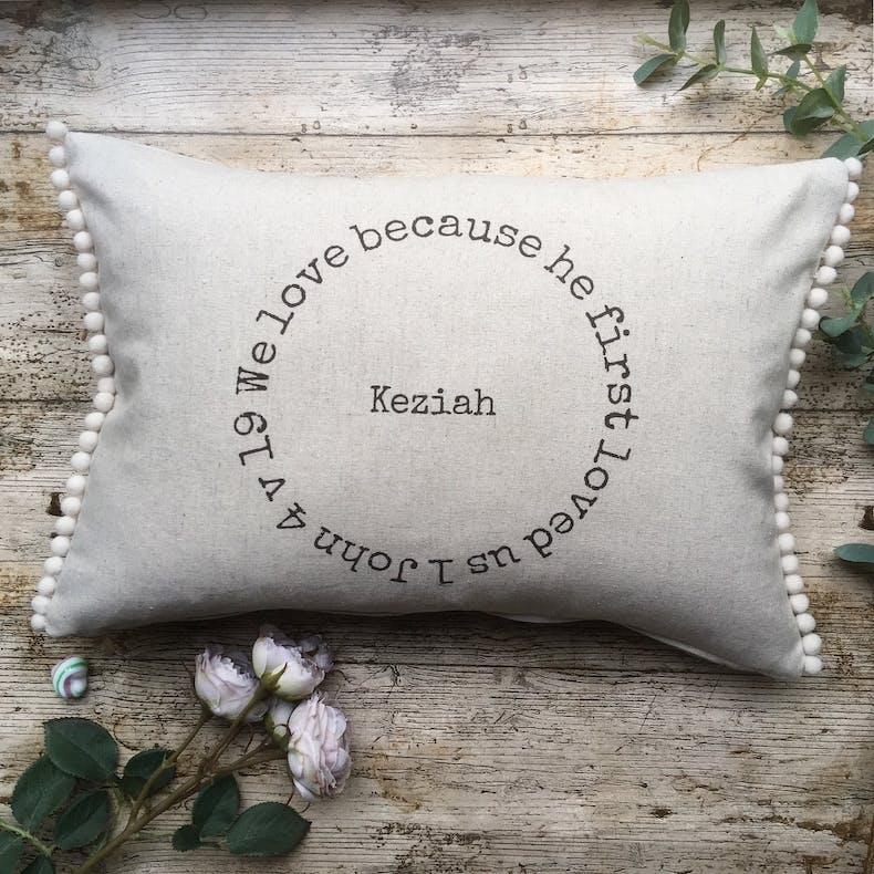 Personalised Linen Cushion | 1 John 4:19 | O Happy Day | Cheerfully Given