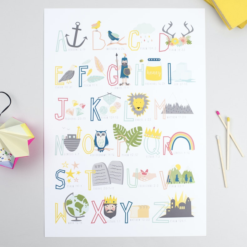 Bible Alphabet with letters and accompanying images and bible references by Ooh I Like That Design