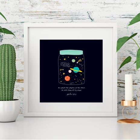 25% OFF Jar of Stars Psalm 147:4 Galaxy Bible Verse Square Print - FREE UK DELIVERY