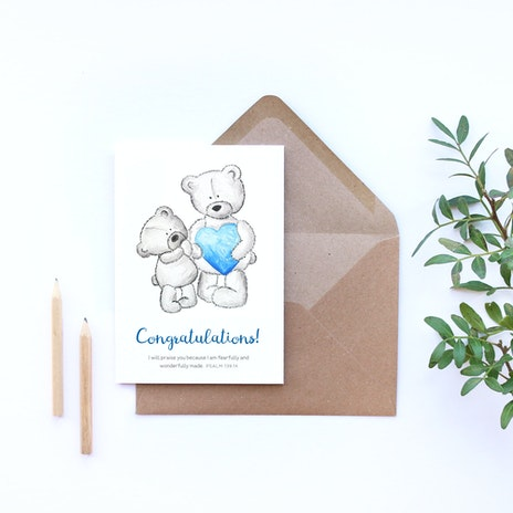 new baby boy card congratulations card blue baby psalm 13914