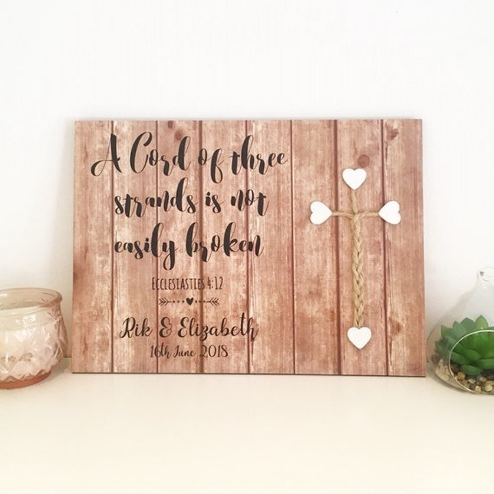 A Cord of Three Strands Sign   Personalised Wooden Plaques UK   Purple Heart Handmade   Cheerfully Given