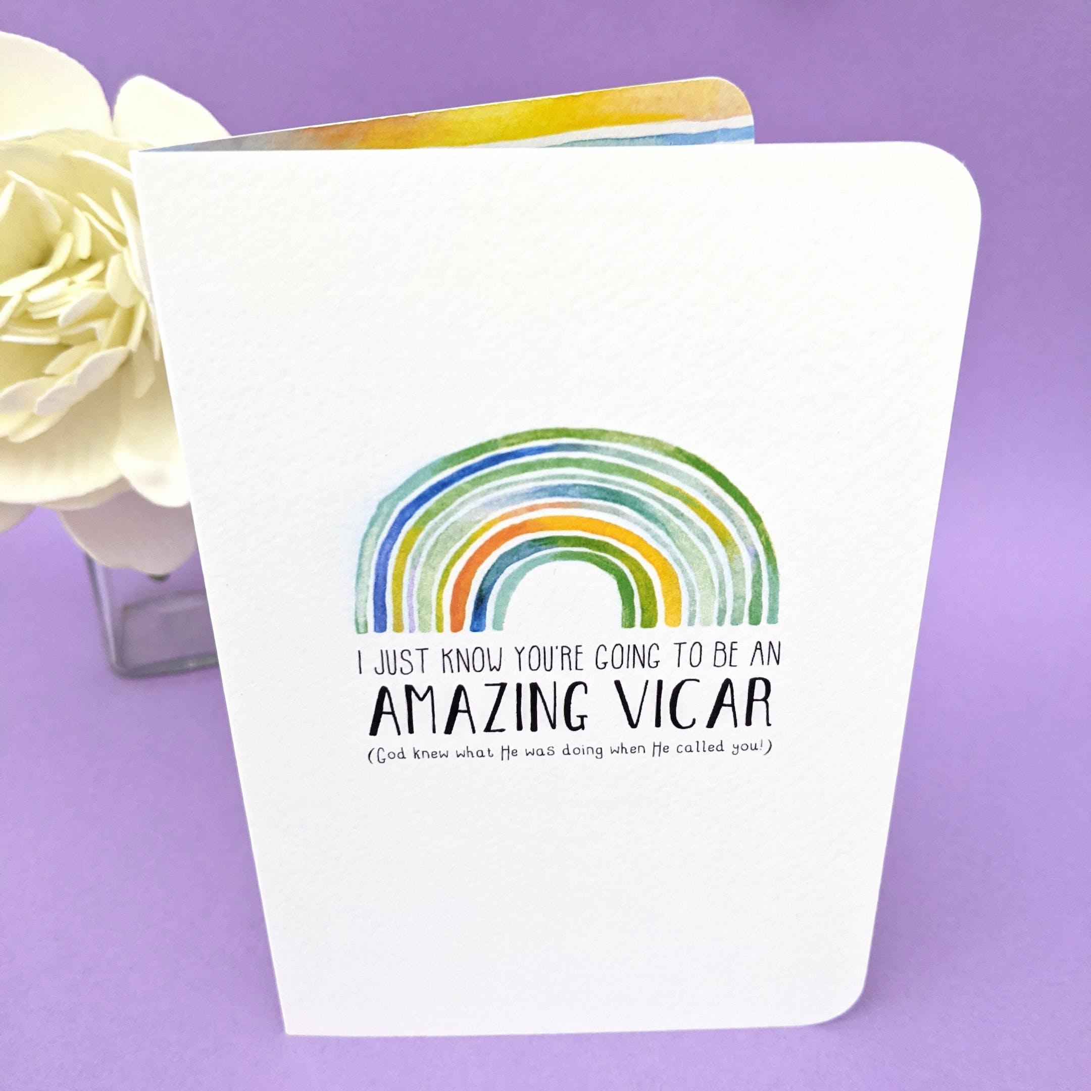 Rainbow Amazing Vicar Christian Ordination Cards | Rudge and Garnett at Cheerfully Given