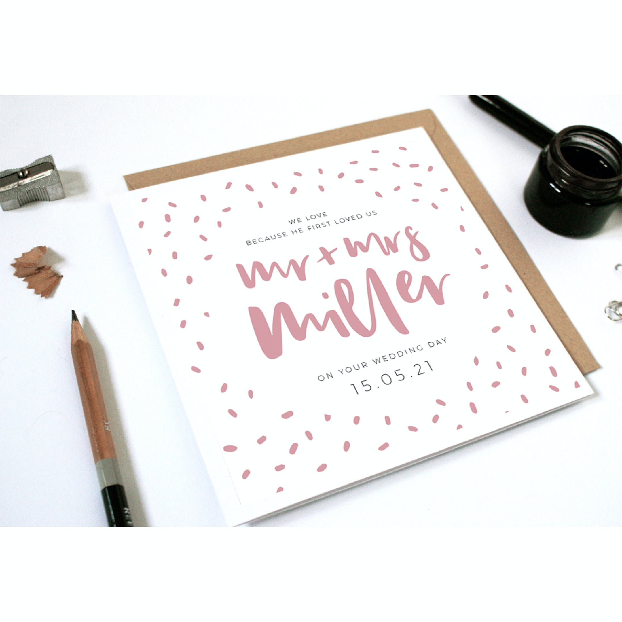 Pink splattered effect for Mr + Mrs Miller - personalised Christian wedding card by Naptime Illustration at Cheerfully Given