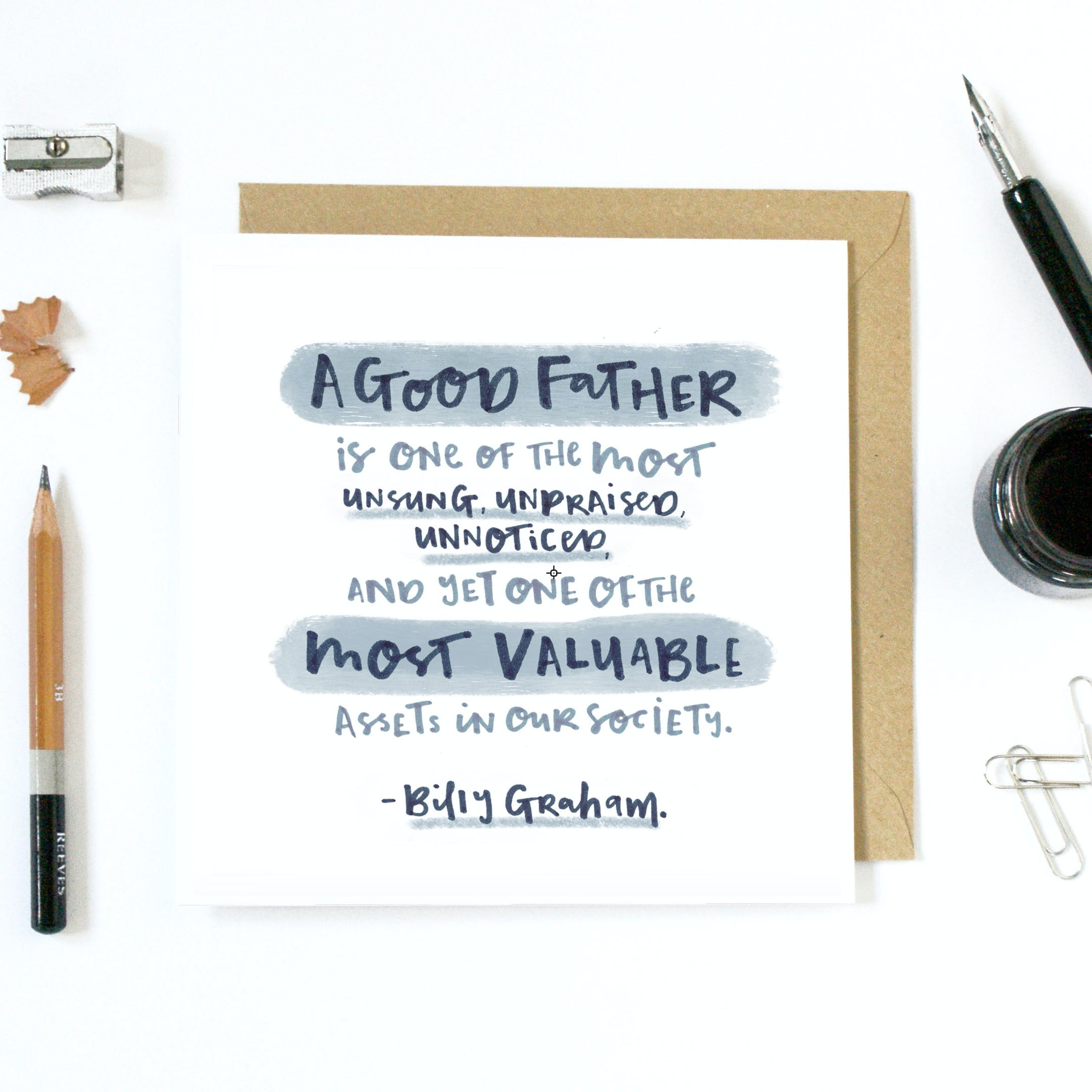 A Good Father Billy Graham Quote Card by Nap time illustration at Cheerfully Given