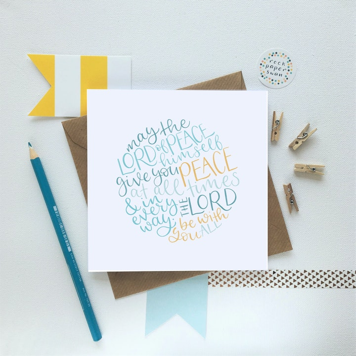 Blue and yellow handlettered Lord of Peace Bible verse card in a circle shape by Rock Paper Swan @ Cheerfully Given