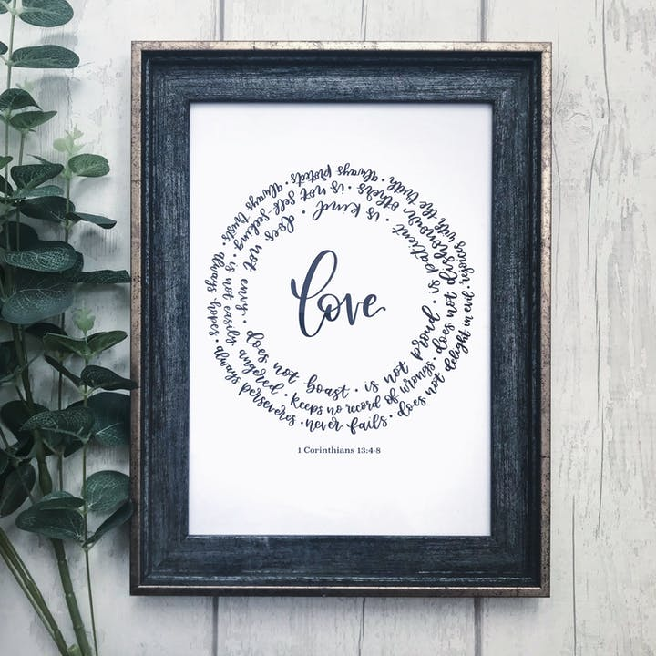 Love never fails print with 1 Corinthians 13 circling the words | Made by Laura's Letterbox | Cheerfully Given - Christian Prints UK