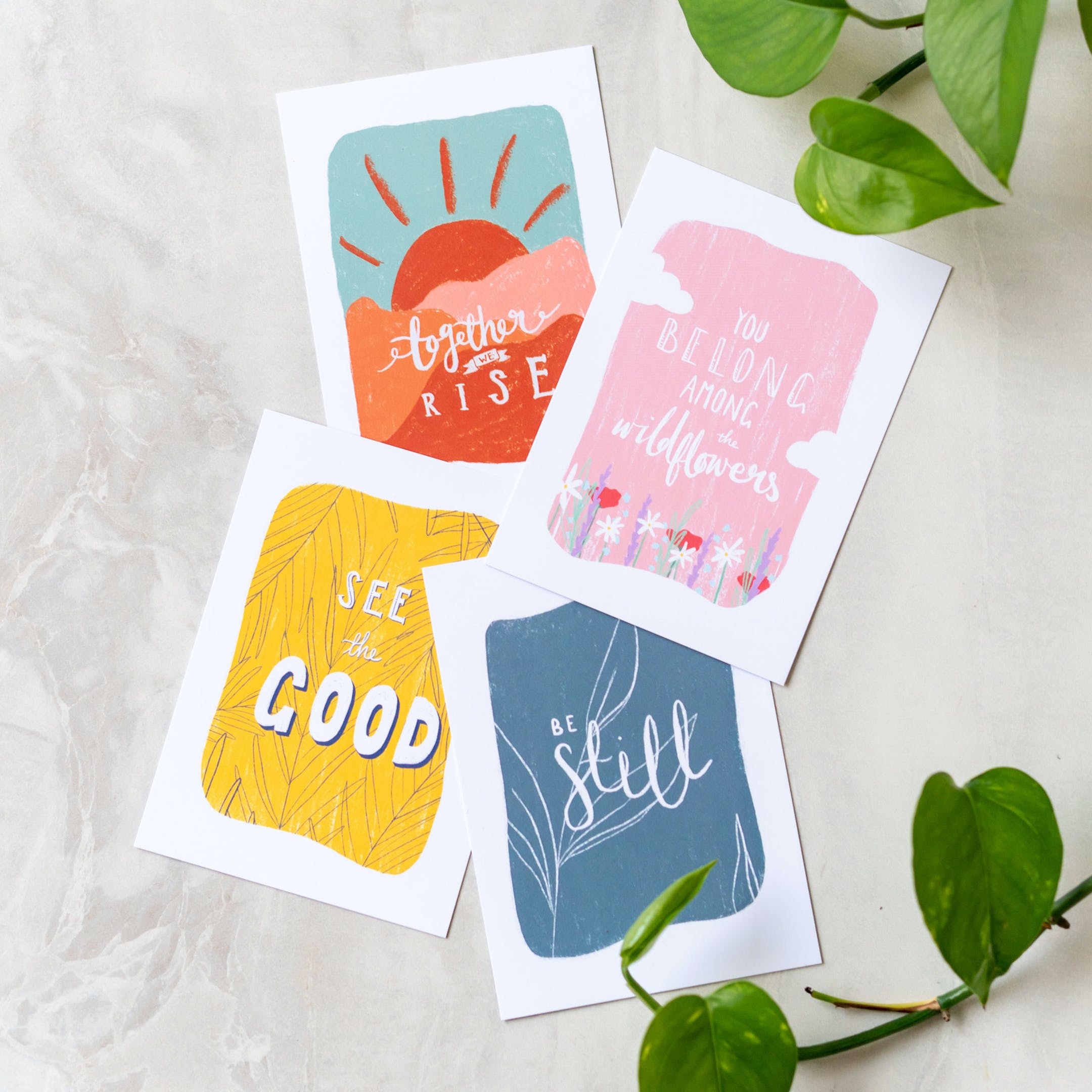 Set of 4 brightly coloured Scripture postcards by Sarah Nolloth Illustrations   Cheerfully Given - Christian Encouragement Cards UK