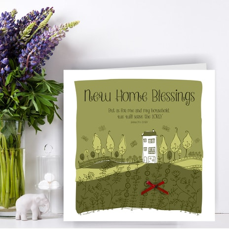Christian new home cards cheerfully given handmade new home blessing greetings card joshua 24 v 15 m4hsunfo