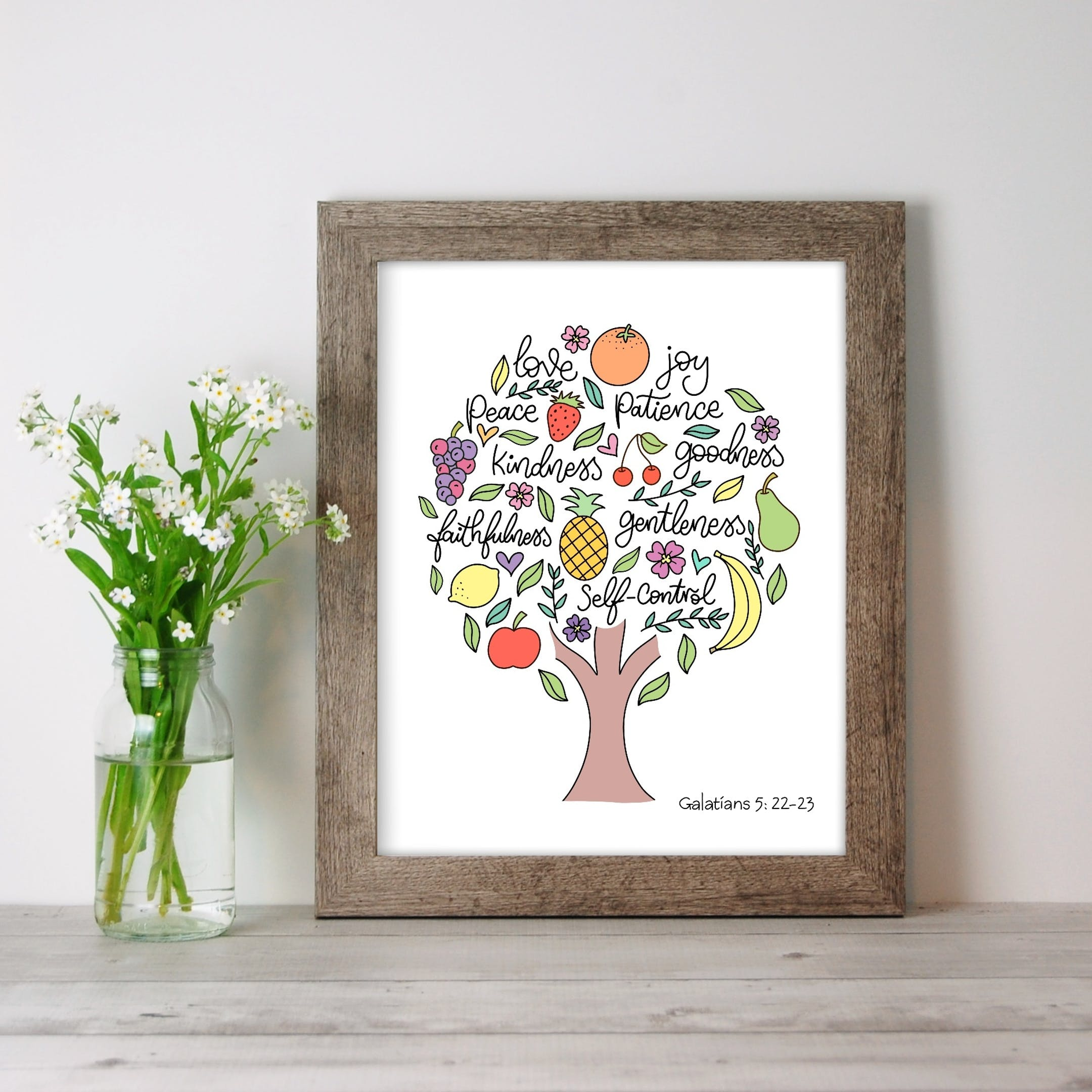 A Christian Print of a Tree filled with the Fruit of the Spirit words and various fruits on a white background by Sharon White Designs @ Cheerfully Given