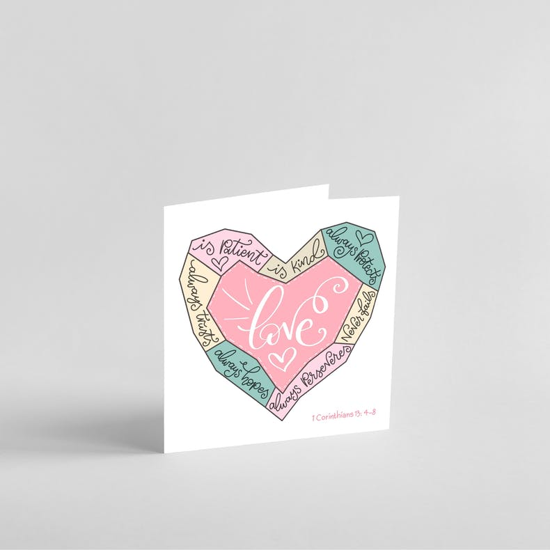Heart shaped Love is patient Christian card by Sharon White Designs @ Cheerfully Given