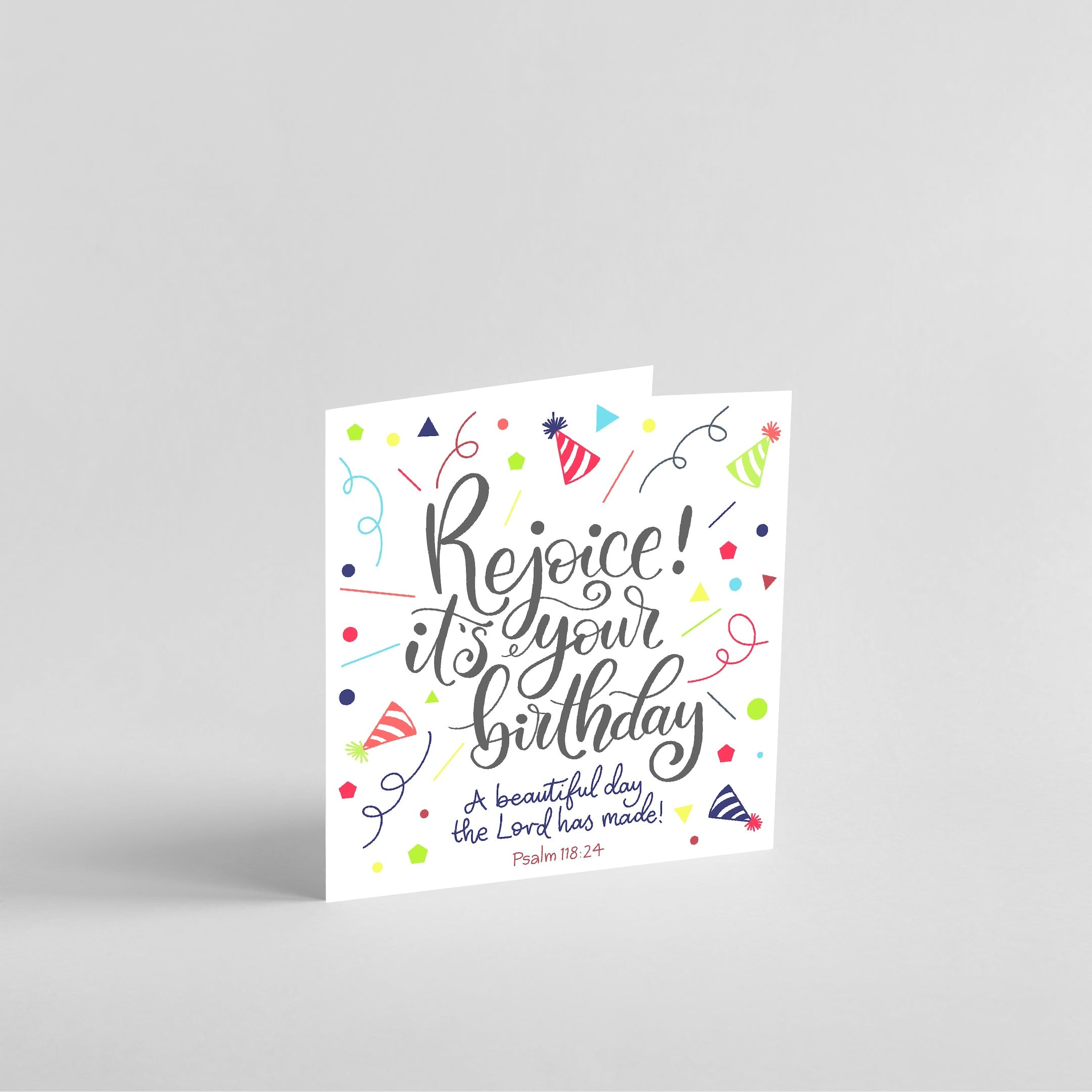Bright confetti and black handlettered Rejoice its your birthday card with Psalm 118:24 | Made by Doodling Faith @ Cheerfully Given